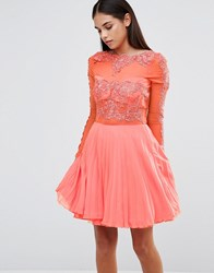 Ax Paris Skater Dress With Pleated Skirt Coral Pink