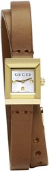 Gucci Gold And Brown Square Double Wrap Watch