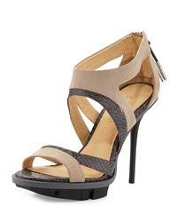 L.A.M.B. Follie Mixed Media Sandal Light Gray Tan