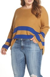 Plus Size Bp. Varsity Stripe Sweater Brown Cattail Kenzie Stripe