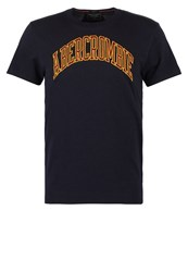 Abercrombie And Fitch Varsity Tech Muscle Fit Print Tshirt Navy Dark Blue