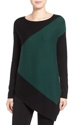 Halogenr Women's Halogen Asymmetrical Wool And Cashmere Sweater Green Black Colorblock