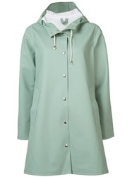 Stutterheim Flare Hooded Raincoat Women Cotton Polyester Pvc S Green