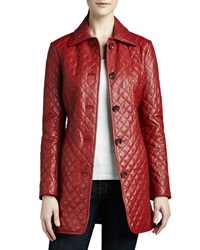 Neiman Marcus Quilted Long Leather Jacket