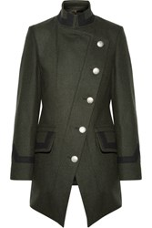 Vivienne Westwood Anglomania State Asymmetric Wool Blend Coat Army Green