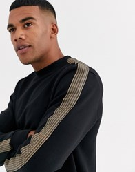 Only And Sons Check Taped Sleeve Sweat In Black