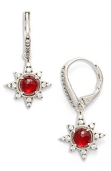 Nadri Women's Holiday Star Drop Earrings Garnet Silver