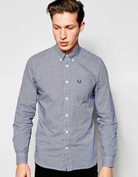 Fred Perry Long Sleeve Gingham Check Shirt Navy