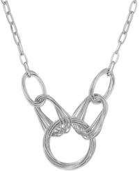 Style And Co. Silver Tone Multi Ring Frontal Necklace