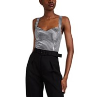 Barneys New York Gingham Cotton Crop Bustier Top Wht.Andblk. Wht.Andblk.