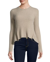 Marled By Reunited Clothing Cashmere Crewneck High Low Sweater H Oatmeal