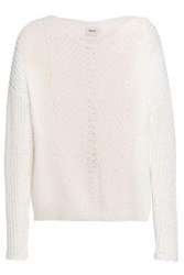 Charli Lace Up Pointelle Knit Cotton Sweater White