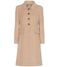 Miu Miu Virgin Wool Coat Beige
