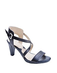 Adrienne Vittadini Briale Strappy Leather Sandals Black