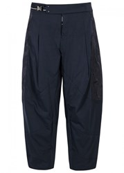 High Dhow Panelled Cropped Taffeta Trousers Navy