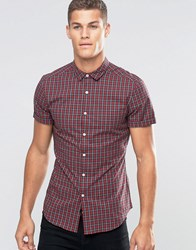 Asos Skinny Shirt In Red Tartan Check With Short Sleeves Red