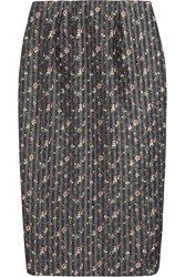 Victoria Beckham Floral Print Organza And Wool Blend Pencil Skirt Black