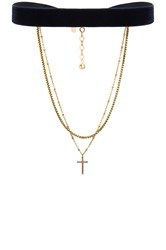 Vanessa Mooney Chain And Cross Choker Metallic Gold