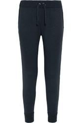 Brunello Cucinelli Sequin Embellished Cashmere And Silk Blend Track Pants Navy