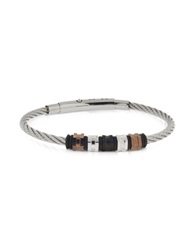 Zoppini Manly Black Pvd Stainless Steel Men's Bracelet Silver
