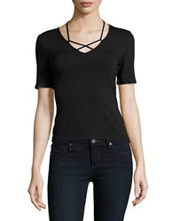 Buffalo David Bitton Cross Strapped Accented Tee Black