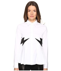 Neil Barrett Thunderbolt Popeline Stretch Eco Suede White Women's Long Sleeve Button Up