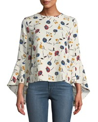 Carmen By Carmen Marc Valvo Floral Tiered Bell Sleeve Button Front Blouse Multi