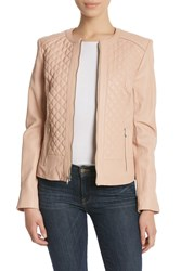 Cole Haan Quilted Leather Jacket Blush