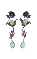 Lydia Courteille Flower Drop Earrings Multi