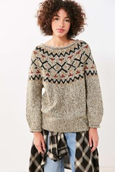 Ecote Cassie Fair Isle Off The Shoulder Sweater Green Multi