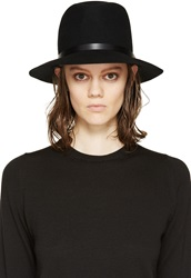 Rag And Bone Black Wide Brim Wool Fedora