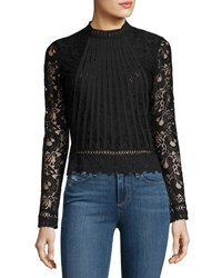 Romeo And Juliet Couture Sheer Sleeve Pleated Lace Blouse Black