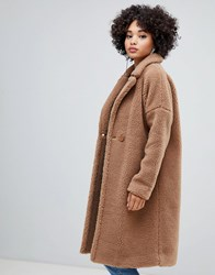 Missguided Longline Borg Coat In Brown
