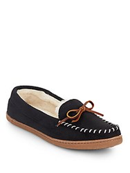 Saks Fifth Avenue Stitched Faux Fur Lined Moccasins Black