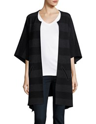 Eileen Fisher Striped Open Front Cardigan Black