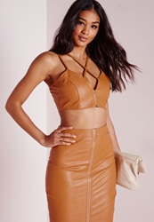 Missguided Faux Leather Zip Front Strappy Bralet Mustard Yellow