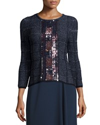 Escada 3 4 Sleeve Embellished Pullover Top Midnight Blue Women's