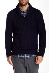 Relwen Shawl Collar Ribbed Wool Sweater Blue