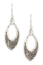 Lois Hill Sterling Silver Medium Granulated Petal Earrings Metallic