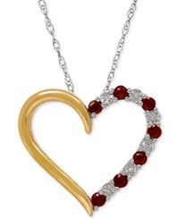 Macy's Rhodolite Garnet 1 3 Ct. T.W. And Diamond Accent Heart Pendant Necklace In Sterling Silver And 14K Gold Two Tone