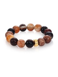 Nest Horn Beaded Stretch Bracelet Gold Brown
