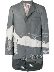 Thom Browne Scenic Suiting Intarsia Chesterfield Grey