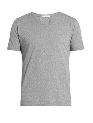 Adam By Adam Lippes V Neck Cotton T Shirt Grey