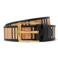 Burberry 3.5Cm Tan Leather Trimmed Checked Twill Belt Tan