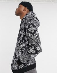 Bershka All Over Print Hoodie In Black