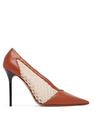 Altuzarra Peppino Leather And Mesh Pumps Tan White