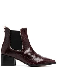 Carvela Spire Crocodile Embossed Ankle Boots Red