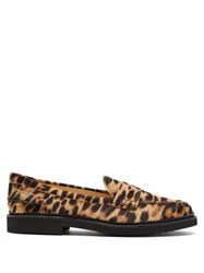Tod's Leopard Print Calf Hair Loafers Leopard