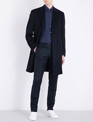 Canali Single Breasted Classic Fit Wool And Cashmere Blend Coat Navy
