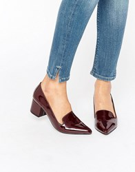 London Rebel Mid Heeled Loafers Burgundy Patent Red